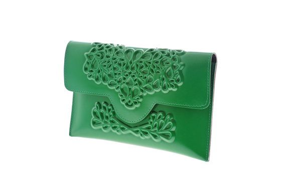 Brilliant clutch bag statement handbag vegan green by MeDusaBrand
