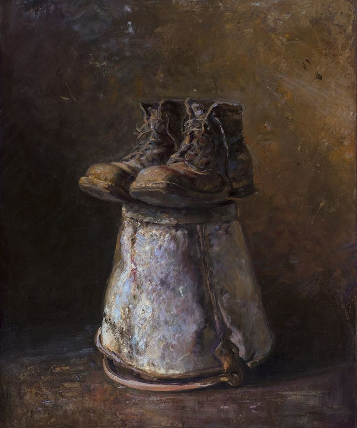 Grandpa's boots, Oil on canvas by Jonny Andvik