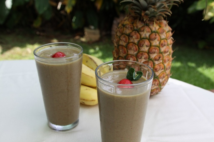 Kale Smoothie Chocolate Strawberries Bananas