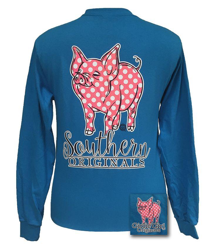Girlie Girl Originals Southern Polka Dot Happy & Preppy Pig Sapphire T Shirt