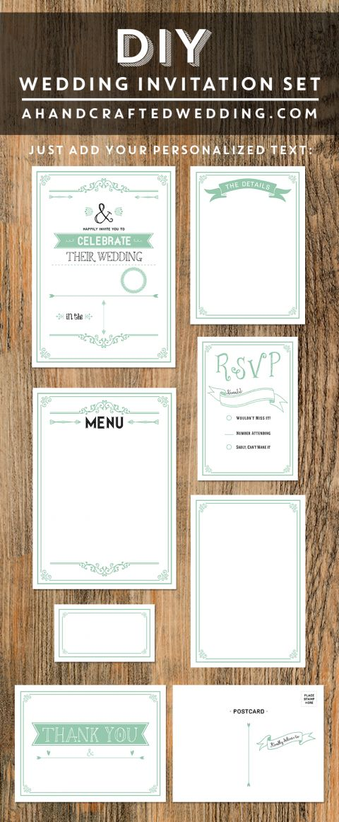 wedding invitation mint green%0A Printable Rustic Mint Wedding Invitation Set
