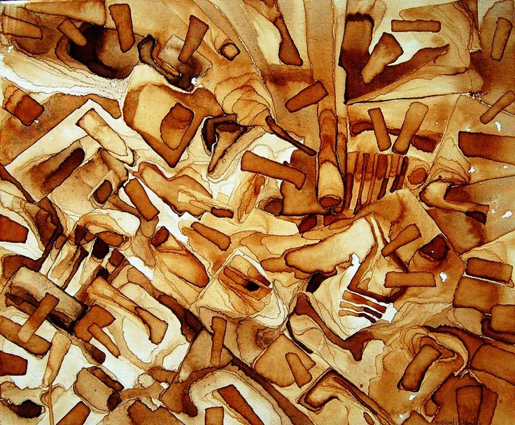 """- otra línea de trabajo VI-  serie """"mandalas de ocasión""""  título: """" trencadís II """"  pigments on canvas  60 x 50 cm"""
