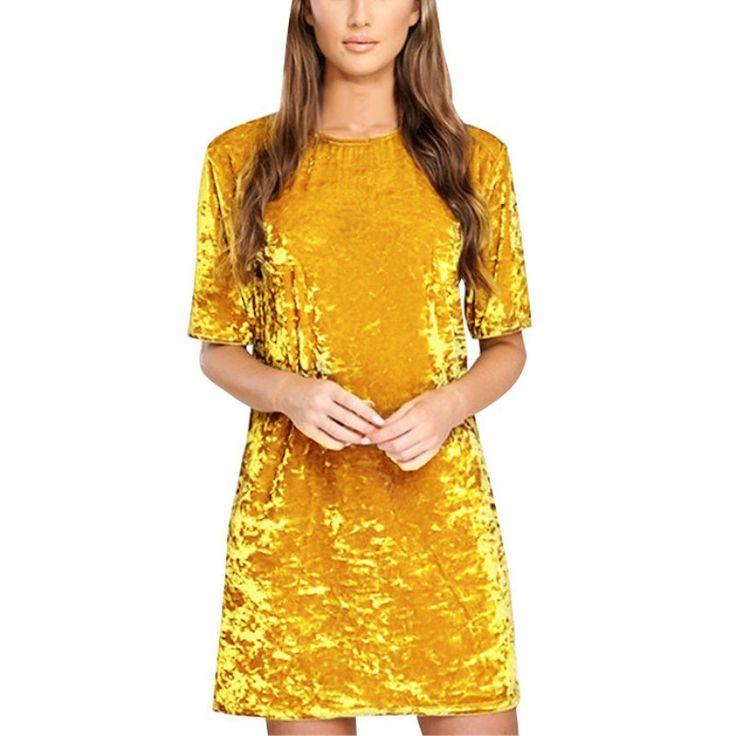 Fashion Women Spring Dress Pure Color Soft Casual Gold velvet Dresses Half Sleeve Casual Sexy Line Vestidos