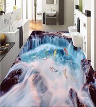 3 d suelo personalizado impermeable auto-adherencia 3 d cascada carpa en el suelo 3d foto wallpaper para paredes del baño piso 3d(China)