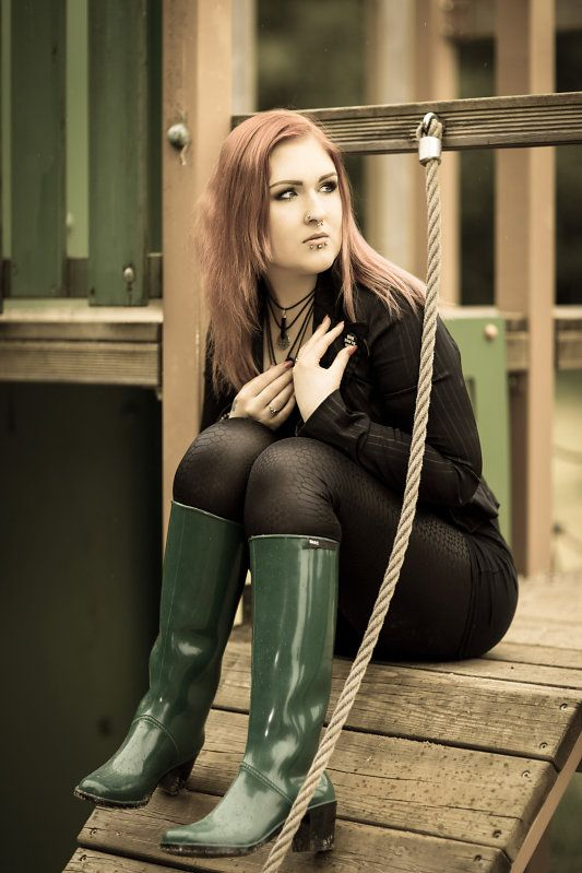 Green wellies with small heel