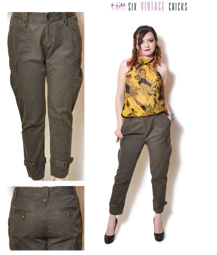 cigarette pants women 90s clothing boho pants high waisted vintage Minimalist pants bohemian designer military pants womens Trousers M by SixVintageChicks on Etsy