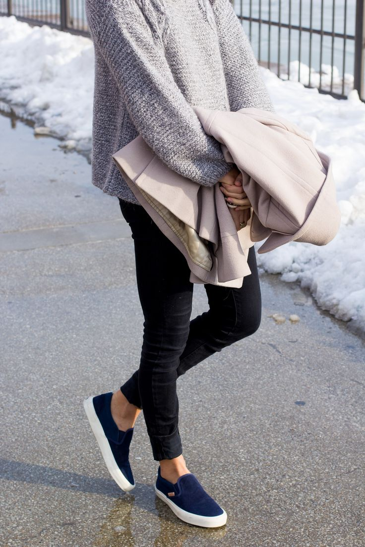 Keep it #cozy during the #weekend with layers and slip on tennies.