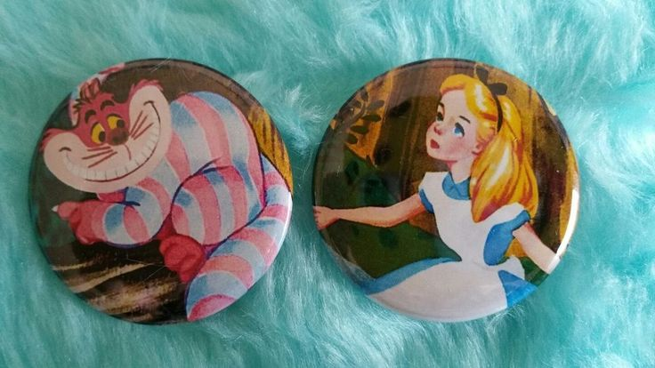 """Vintage Alice in the wonderland Pinback Buttons-1.5"""" Retro Pinback Buttons Set"""