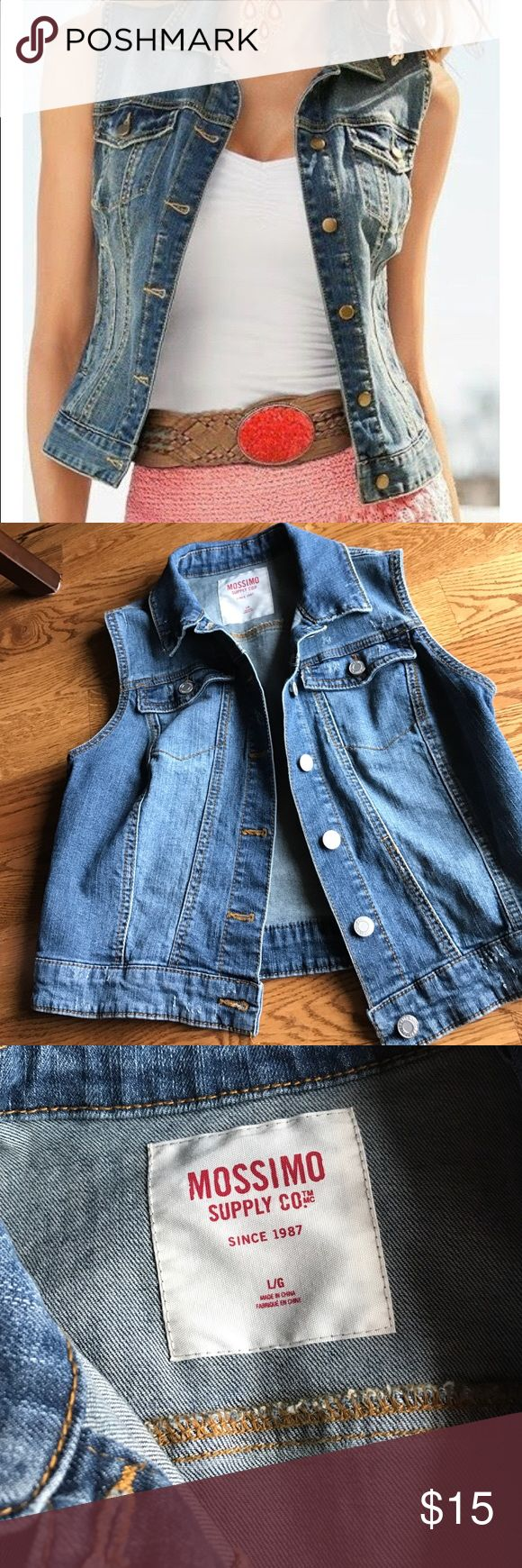 Mossimo Supply Co Ladies Sleeveless Jean Jacket Mossimo Supply Co Ladies Sleeveless Jeans Jacket. Excellent condition- worn once. Size L. Mossimo Supply Co. Jackets & Coats Jean Jackets