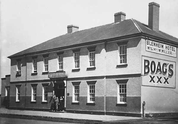 'Blenheim Hotel', Marlborough Street, Longford, Tasmania, built 1846 by Willaim Dodery. This photo taken in the mid 1950s shows W Miller as the proprietor. The 'Blenheim Hotel' is located 16 Marlborough St, Longford. In the Dining Room you will find a display about it's history and William Dodery.