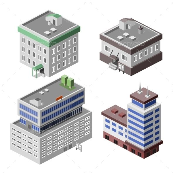 Office Buildings Isometric Isometric Office Building Vector Free