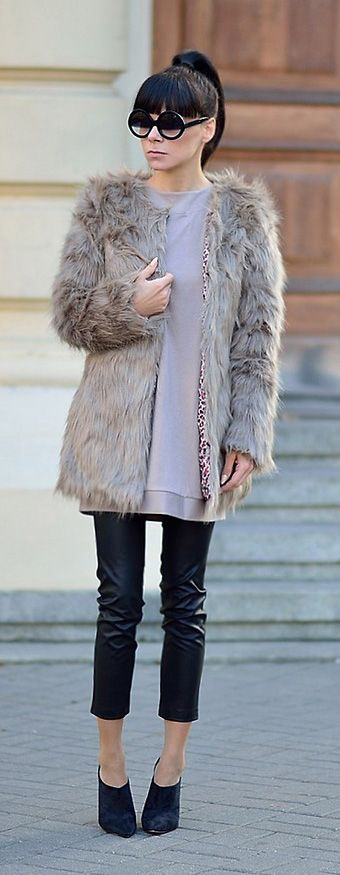 Glam Brown Faux Fur Coat
