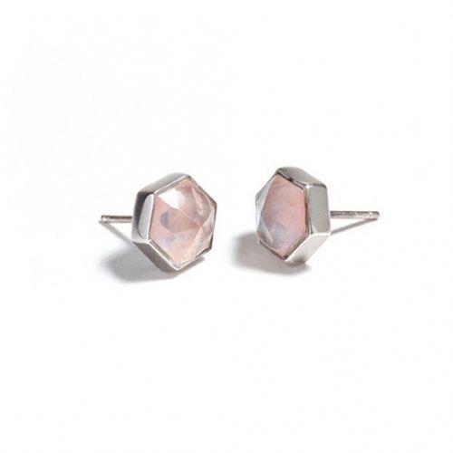 Rose Quartz Studs (SR) Silver