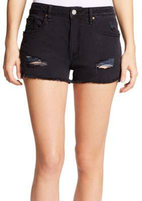 William Rast™ Women's Distressed Denim Shorts - Not Too Black - 24
