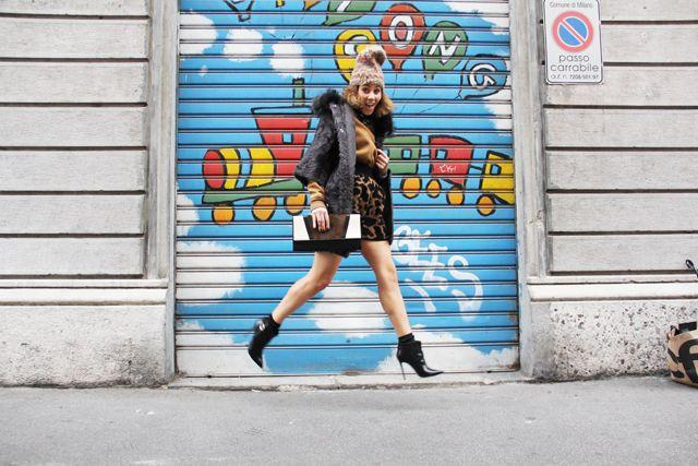 Chichi wears  Grevi hat  Inga Kazamyan necklace  Rico sweatshirt e skirt  Ïtakli fur coat  Drome bag  Calzedonia socks  Gianvito Rossi shoes...