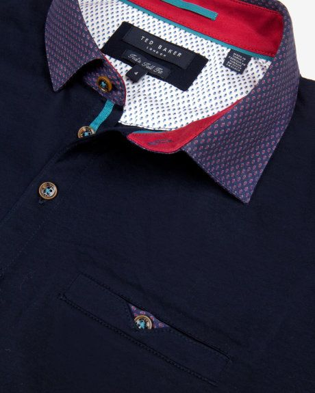 Printed collar polo shirt - Navy | Outlet | Ted Baker UK