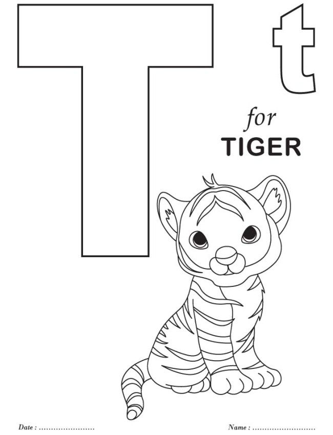T Is For Tiger Coloring Pages