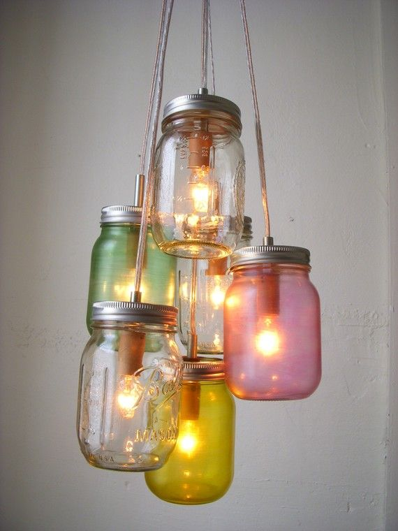 Colored JarsLamps, Ideas, Masons, Lights Fixtures, Jar Lights, Mason Jars Lights, Diy, Mason Jars Chandeliers, Mason Jar Chandelier