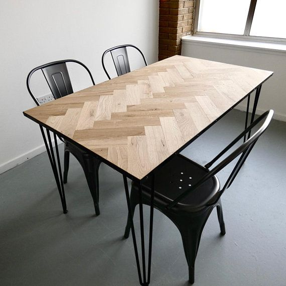 Solid Oak Parquet Dining Table Herringbone Mid Century Modern