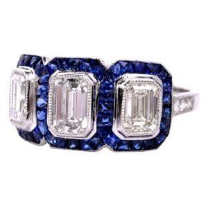 Art Deco Diamond, Sapphire & Platinum Engagement Ring