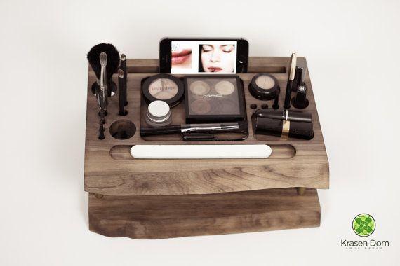 Wooden Makeup station, beauty station, makeup organizer, makeup brush holder
