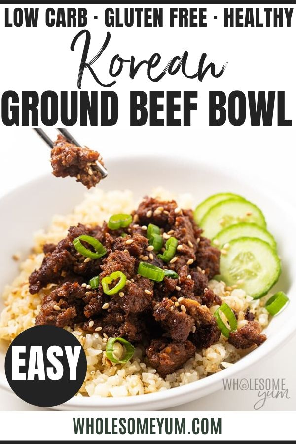 Easy Keto Korean Ground Beef Bowl Recipe In 2020 Beef Bowl Recipe Ground Beef Bowl Recipe Ground Beef