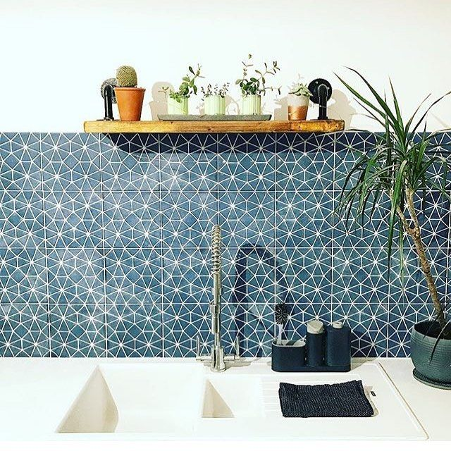 "408 Likes, 7 Comments - Bert & May (@bertandmay) on Instagram: ""#throwback to one of our favourite shots of our blue octagon tile in this delightful kitchen. #tbt…"""