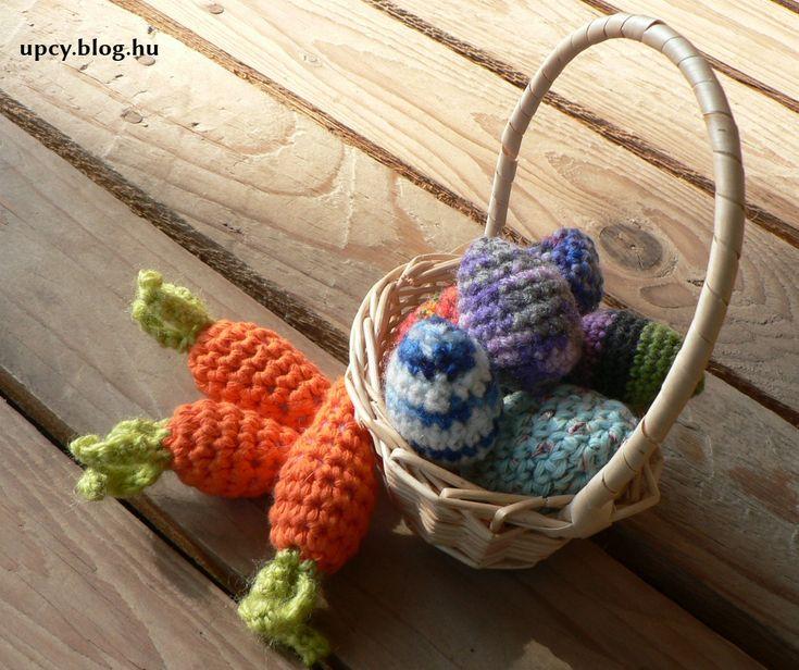 easter crochet carrot and egg filled with spice, levander.  Horgolt répa, tojás, levendulával, fűszerrel töltve.