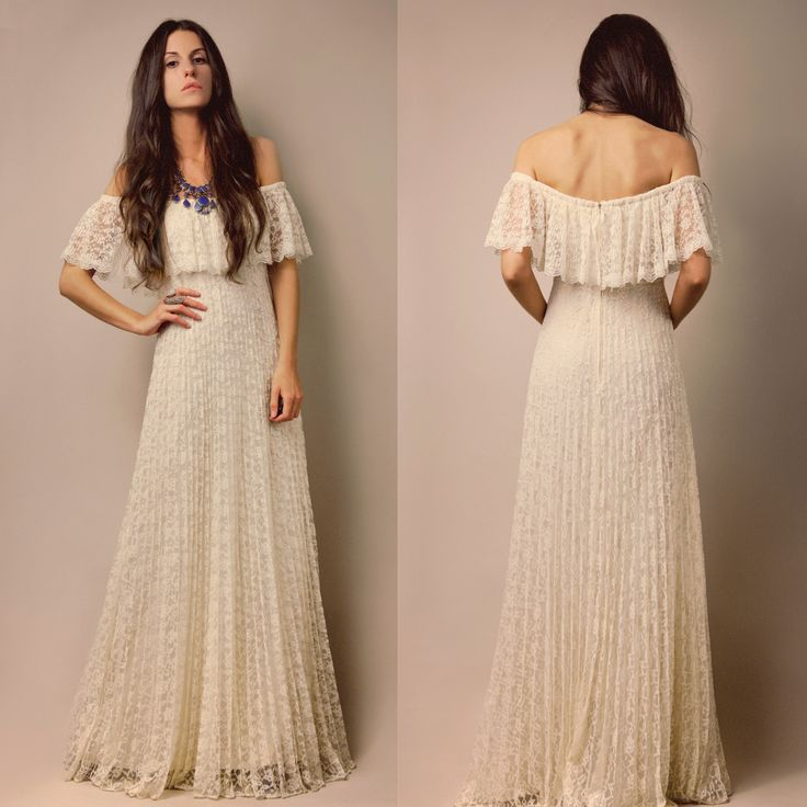 70s ivory sheer lace pleated goddess off shoulder wedding maxi dress