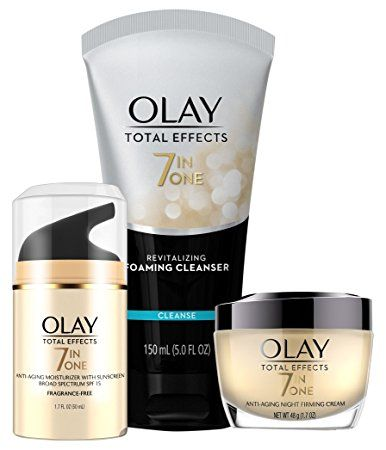 Why Olay Total Effects Anti Aging Skincare Kit Is So Effective…All Three Products Have 7 Benefits In One! Revitalizing Foaming Cleanser and Daily Face Moisturizer Smooths, Evens Tone, Brightens, Refines Pores, Targets Age Spots, Restores Firmness, Moisturizer… …Anti Aging Night Firming Cream fights 7 signs of aging including the look of fine lines and wrinkles.
