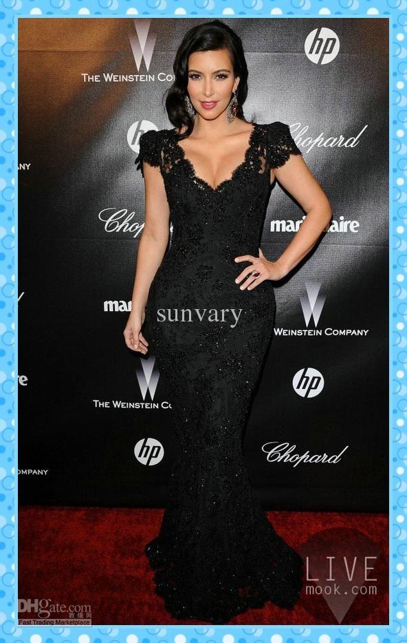 Wholesale 2013 Classic Kim Kardashian Celebrity Dress Mermaid V-neck Short Sleeves Black Lace Evening Dresses, Free shipping, $120.96-129.99/Piece | DHgate