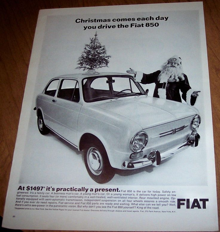 Fiat 850 Car Auto Santa Claus Christmas vintage 1967 holiday ad