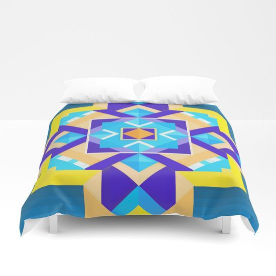Cover yourself in creativity with our ultra soft microfiber duvet covers. Hand sewn Available for King, Queen, Full, Twin and Twin XL duvets  Geometric Tribal Mandala Inspired Modern Trendy Vibrant (Blue, Cobalt, Yellow, Orange, Purple) Tribal tribal-print tribal-pattern geometric geometry pretty awesome colorful bright ethnic modern trend trends trending tribal shapes geometric-tribal intricate detailed fun girly teen teenage college focal-point blue yellow orange purple cobalt