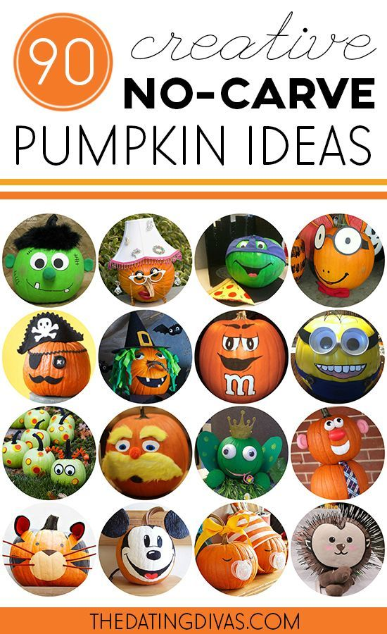 TONS of creative pumpkin decorating ideas- NO carving required!! Saving this for the school's pumpkin decorating contest.