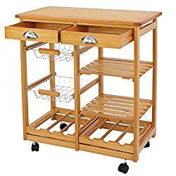 SUPER DEAL Rolling Kitchen Storage Cart Wood Dining Trolley w/ 2 Drawers and Shelves Natural Kitchen Storage Rack