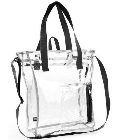 """EastSport Large Clear Tote Bag by EastSport. Save 32 Off!. $16.95. Top zipper closure. Exterior zipper pocket for keys, phone, etc.. Sturdy construction, EastSport quality. Measures 12"""" W x 16"""" H x 5"""" D. Adjustable top shoulder strap plus 2 carry handles. EastSport quality in a large clear tote bag.  This functional high-quality clear tote bag features an adjustable top shoulder strap as well as 2 carry handles. Top zipper closure, front zipper pocket.  Suitable for work places that require…"""