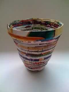 recycled magazine coil bowl