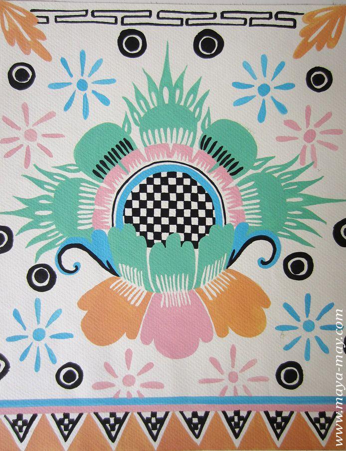 Textile motif design by Angela Kurnia. Color guache.  #prints #textiledesign #art #painting #designer #flower #ethnicprint #decorative #placementprint