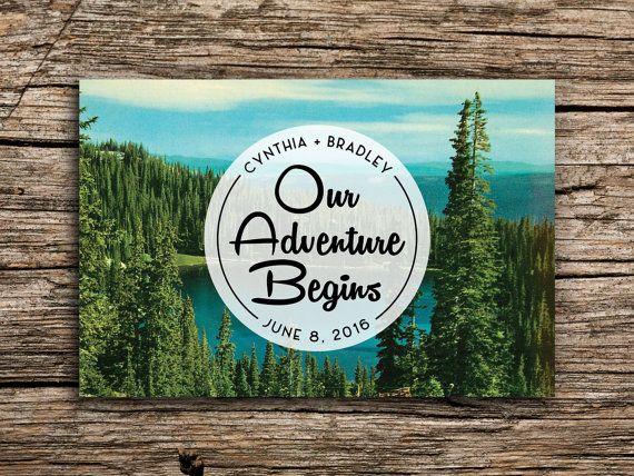 Adventure Woodland Save the Date Vintage Postcard door factorymade