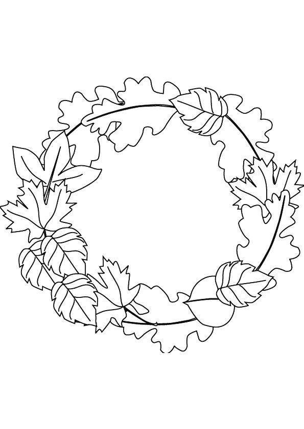 Coloriage d'une magnifique couronne en feuilles