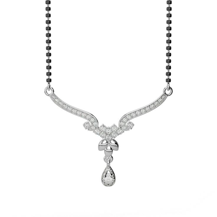 White Gold Diamond Mangalsutra Necklace DNC-1733 [WGold_Dmnd_NC_MS_DNC-1733-VSFG] - £637.45 : AG&SONS