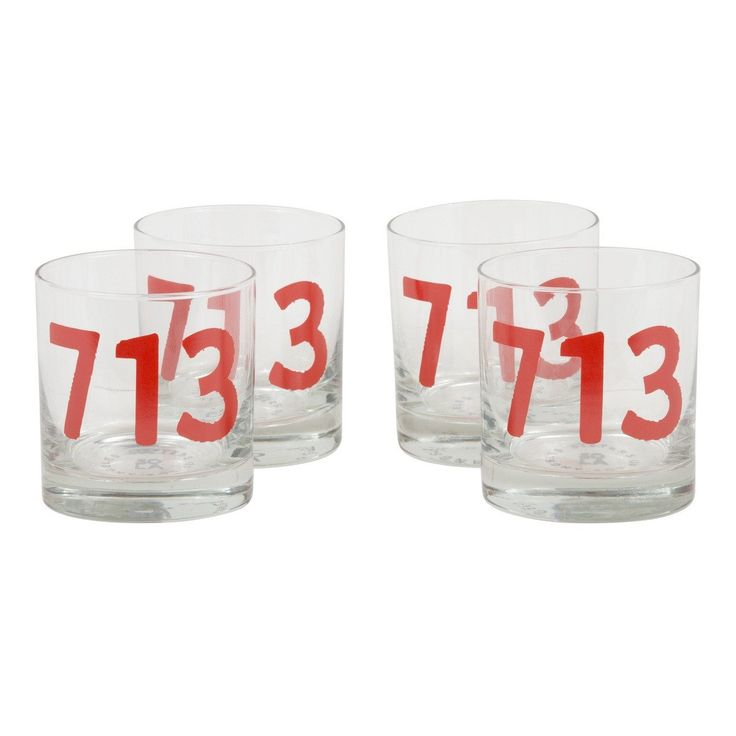 Rocks Glasses Houston 713 Area Code Set of 4 from Sisters of Los Angeles