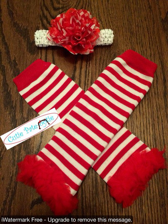 Candy Cane Red and White Striped Leggings. Toddler Leggings with Ruffle and Red Christmas Flower Headband on Etsy, $12.95