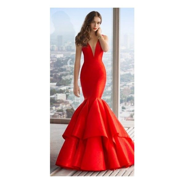 V-Neck Taffeta Mermaid Prom Dress by Jovani ($590) ❤ liked on Polyvore featuring dresses, prom dresses, plunge dress, embellished prom dress, red v neck dress and red carpet prom dresses