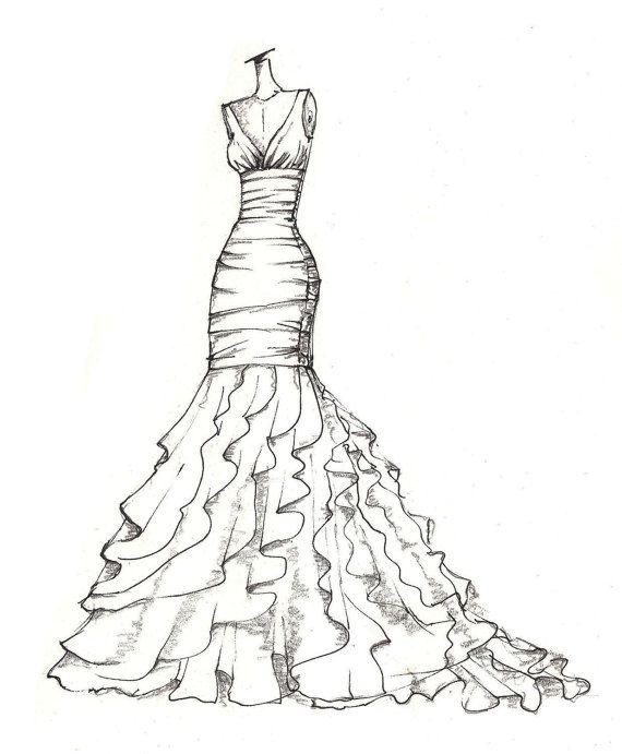 weddinng dress illustration great gift idea von dresssketch