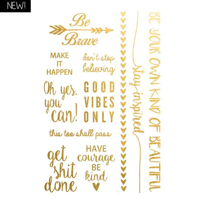 Words of wisdom Metallic Temporary Tattoo, Gold Temporary Tattoo, Inspirational Print Vibes Motivation Tattoo by CreativeSwirlsShop on Etsy https://www.etsy.com/listing/253110958/words-of-wisdom-metallic-temporary