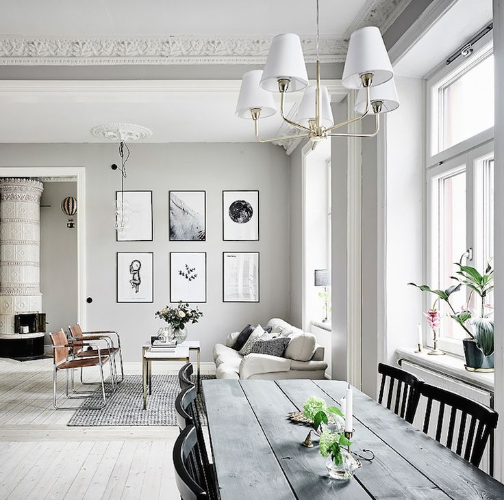 A Cool Grey Neutral Swedish Apartment In Gothenburg The Contrast Of Original Century Architectural Features And Contemporary Furnishings Are Beautiful