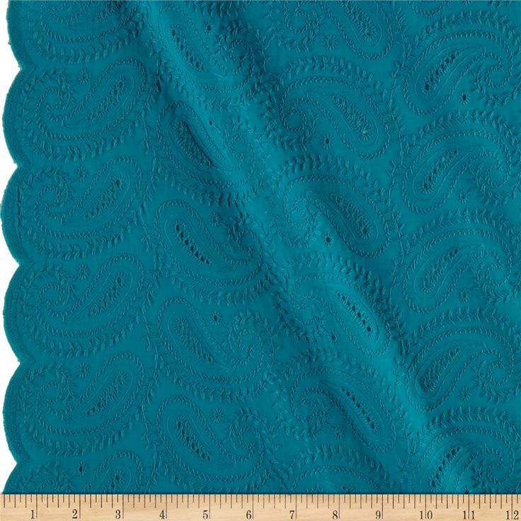 """Telio Maeve Paisley Eyelet Turquoise from @fabricdotcom  This embroidered eyelet has a scalloped edge on both ends (also known as a ''Galloon"""" embroidery) and features a paisley pattern throughout. This fabric is perfect for blouses, dresses , fuller skirts and even home décor."""