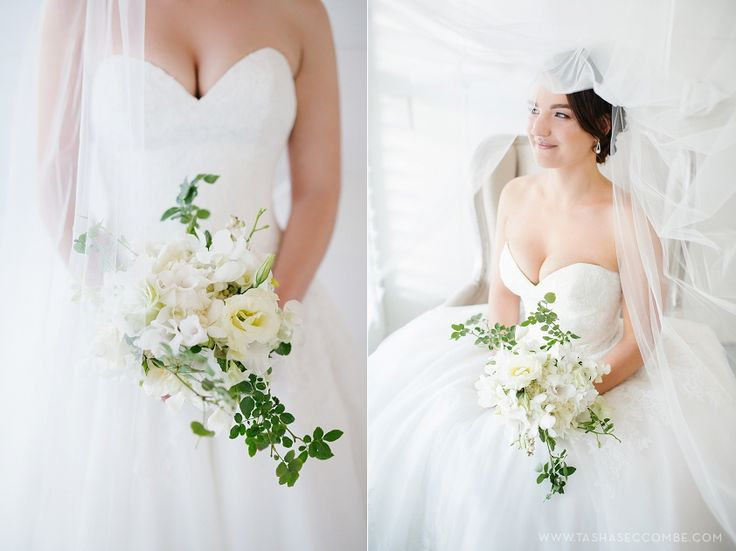 Jacqui's white bouquet by Flowers in the foyer. Photo by Tasha Seccombe