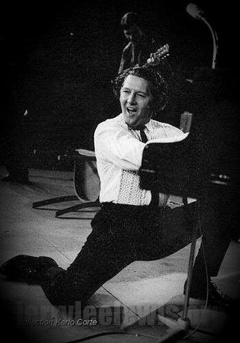 April 4, 1964, Jerry Lee Lewis plays the Deutschlandhalle in Berlin, Germany, for a standing room crowd of 16.000 people. It was the largest concert hall in Europe at the time.